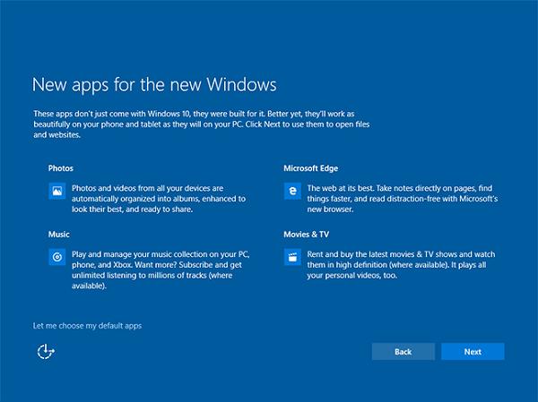 default apps windows 10